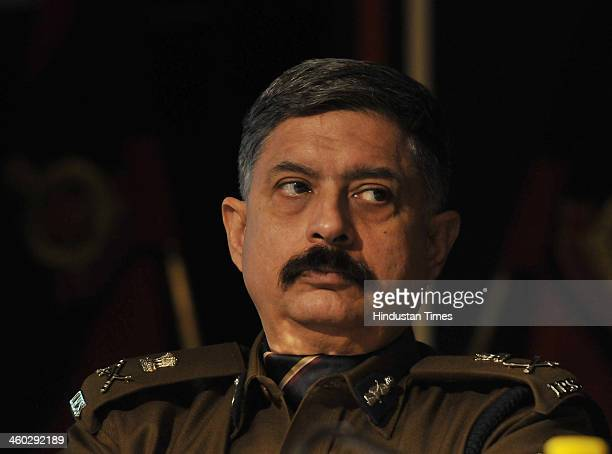 Dharmendra Kumar Special Commissioner of Police during the Annual Press Conference at India Habitat Centre on January 3 2014 in New Delhi India There...