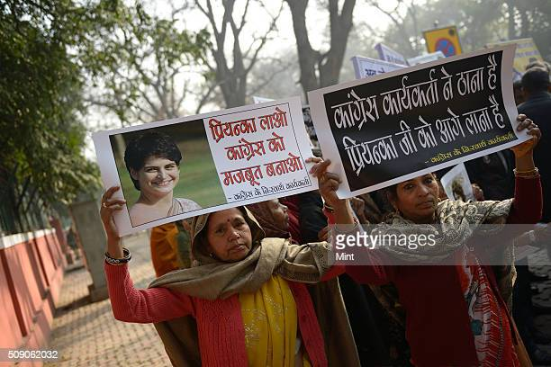 Dharna outside Congress office in support of Priyanka Gandhi Vadra joining the mainstream politics during the time of Delhi Election results which...