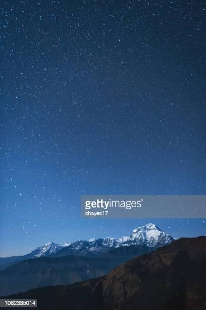 dhaulagiri i night stars - pokhara stock pictures, royalty-free photos & images