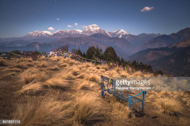 dhaulagiri range from poon hill, annapurna conservation area, nepal - annapurna conservation area stock photos and pictures