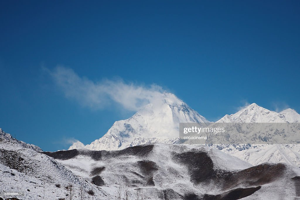 Dhaulagiri view, Himalayas, Nepal, Mustang, Muktinath : Stock Photo