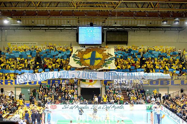 Dhl Modena fans shows their support during the Italian Volleyball Supercup at Palapannini on October 24 2015 in Modena Italy