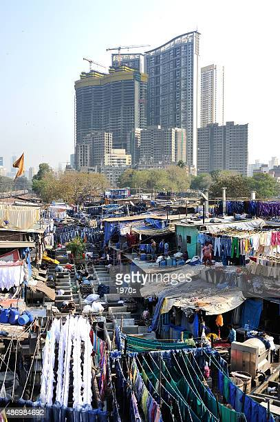 dhobi ghat laundry - indian slums stock pictures, royalty-free photos & images