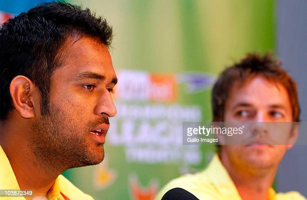 Dhoni and Albie Morkel attend a Chennai Super Kings welcome press conference at the Hilton Hotel on September 07 2010 in Durban South Africa Match...