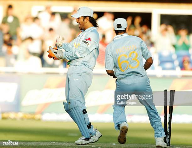 Dhoni and India celebrate their Victory during the final match of the ICC Twenty20 World Cup between Pakistan and India held at the Wanderers Cricket...