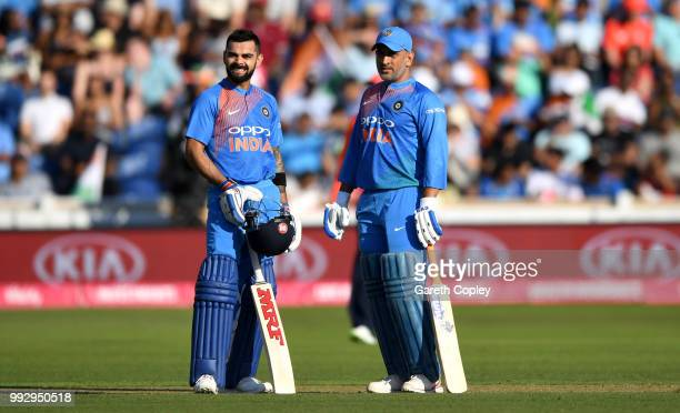 Dhoni and Virat Kohli of India during the 2nd Vitality International T20 match between England and India at SWALEC Stadium on July 6 2018 in Cardiff...