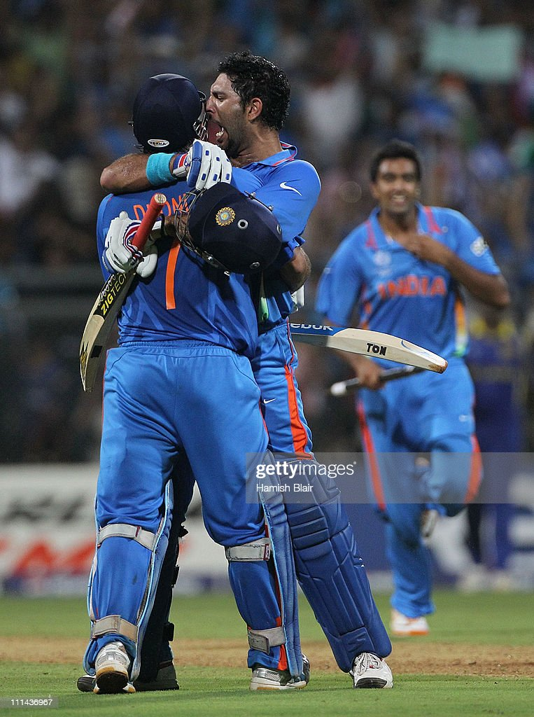 MS Dhoni and Yuvraj Singh of India celebrate after Dhoni hit a six to win the match during the 2011 ICC World Cup Final between India and Sri Lanka at Wankhede Stadium on April 2, 2011 in Mumbai, India.