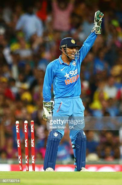 Dhoni appeals for a run out during the International Twenty20 match between Australia and India at Sydney Cricket Ground on January 31 2016 in Sydney...