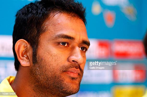 Dhoni attends a Chennai Super Kings welcome press conference at the Hilton Hotel on September 07 2010 in Durban South Africa Match One of the Airtel...