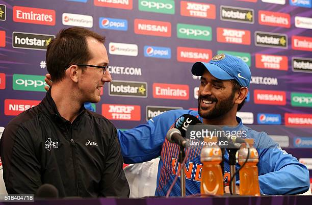 Dhoni Captain of India discusses his future in the sport with a journalist onstage during the ICC World Twenty20 India 2016 SemiFinal match between...