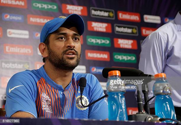 Dhoni captain of India during the press conference after the ICC World Twenty20 India 2016 match betweenPakistan and India at Eden Gardens on March...