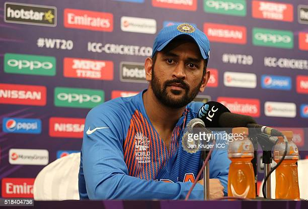 Dhoni Captain of India faces the media during the ICC World Twenty20 India 2016 SemiFinal match between West Indies and India at Wankhede Stadium on...