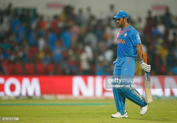Dhoni Captain of India looks dejected as he leaves the field after he goes out during the ICC World Twenty20 India 2016 Group 2 match between New...