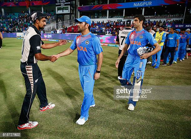 Dhoni Captain of India shakes hands with Ish Sodhi of New Zealand after India lose during the ICC World Twenty20 India 2016 Group 2 match between New...