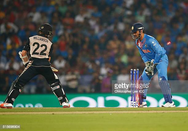 Dhoni Captain of India stumps out Kane Williamson Captain of New Zealand during the ICC World Twenty20 India 2016 Group 2 match between New Zealand...