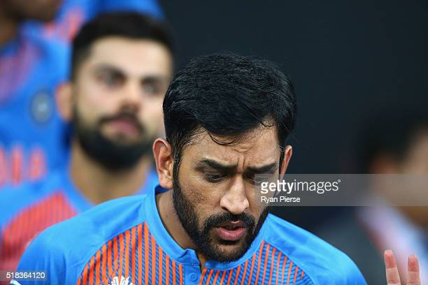 Dhoni Captain of India walks out for the anthems during the ICC World Twenty20 India 2016 Semi Final match between West Indies and India at Wankhede...