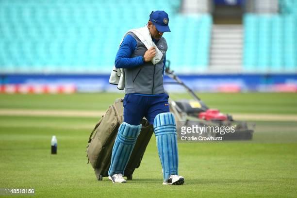 Dhoni in action during the India Nets Session at The Oval on June 8 2019 in London England