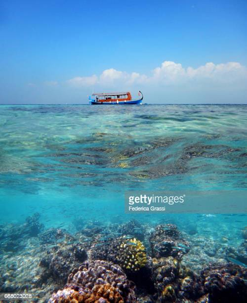 dhoni moored outside the coral reef of maldivian island - coral sea stock photos and pictures