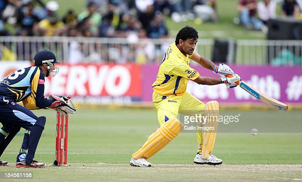 Dhoni of Chennai in action during the Champions League twenty20 match between Chennai Super Kings and Yorkshire Carnegie at Sahara Stadium Kingsmead...