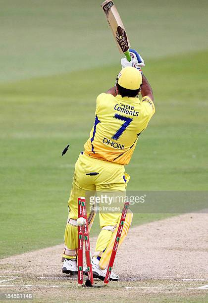 Dhoni of Chennai is bowled during the Champions League twenty20 match between Chennai Super Kings and Yorkshire Carnegie at Sahara Stadium Kingsmead...