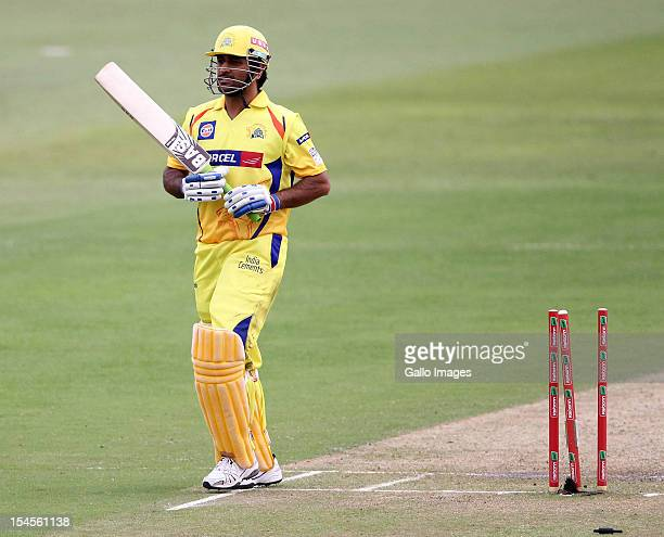 Dhoni of Chennai is dismissed during the Champions League twenty20 match between Chennai Super Kings and Yorkshire Carnegie at Sahara Stadium...