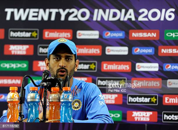 M S Dhoni of India addresses a press conference after the ICC World Twenty20 India 2016 match between India and Bangladesh at the Chinnaswamy stadium...