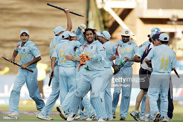 Dhoni of India and his team mates celebrates their victory during the final match of the ICC Twenty20 World Cup between Pakistan and India held at...