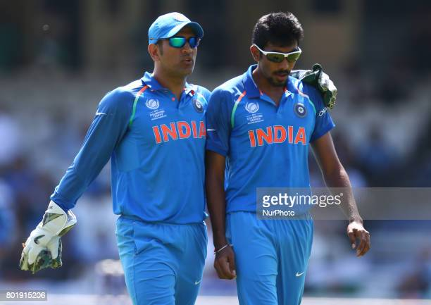 Dhoni of India and Jasprit Bumrah of India during the ICC Champions Trophy Final match between India and Pakistan at The Oval in London on June 18...