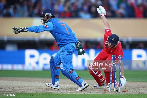 Dhoni of India appeals as he stumps Jonathan Trott of England off the bowling of Ravichandran Ashwan during the ICC Champions Trophy Final match...