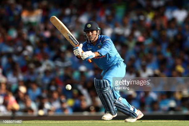 Dhoni of India bats during game one of the One Day International series between Australia and India at Sydney Cricket Ground on January 12 2019 in...