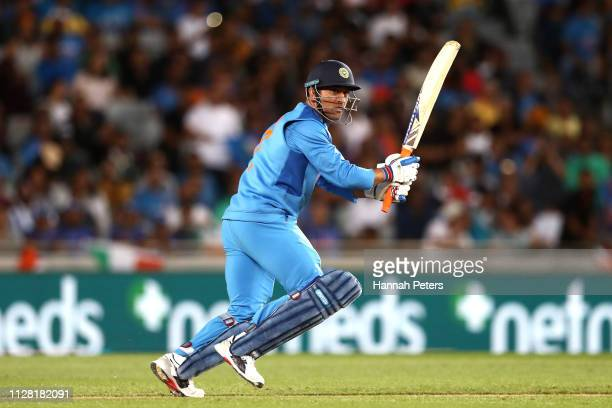 Dhoni of India bats during game two of the International T20 Series between the New Zealand Black Caps and India at Eden Park on February 08 2019 in...