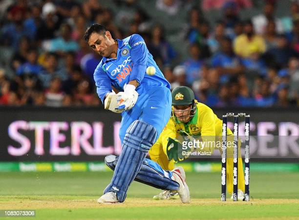 Dhoni of India bats during game two of the One Day International series between Australia and India at Adelaide Oval on January 15 2019 in Adelaide...