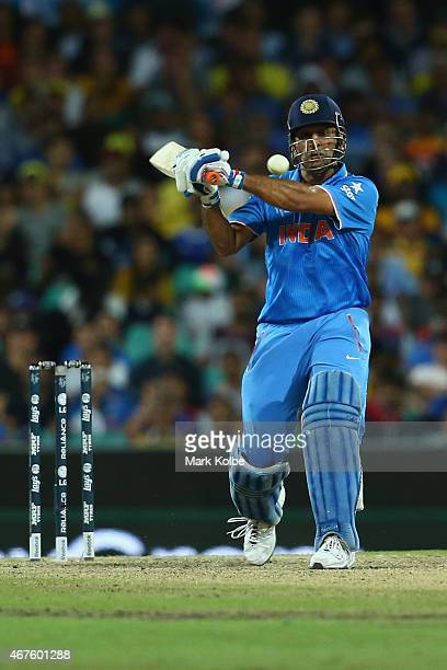 Dhoni of India bats during the 2015 Cricket World Cup Semi Final match between Australia and India at Sydney Cricket Ground on March 26 2015 in...