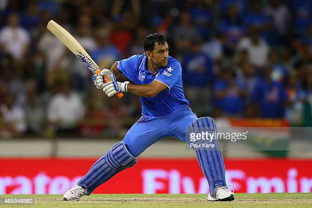 Dhoni of India bats during the 2015 ICC Cricket World Cup match between India and the West Indies at WACA on March 6 2015 in Perth Australia