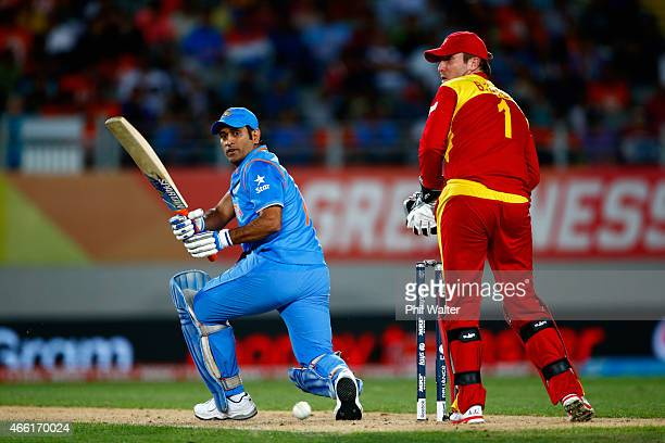 Dhoni of India bats during the 2015 ICC Cricket World Cup match between India and Zimbabwe at Eden Park on March 14 2015 in Auckland New Zealand