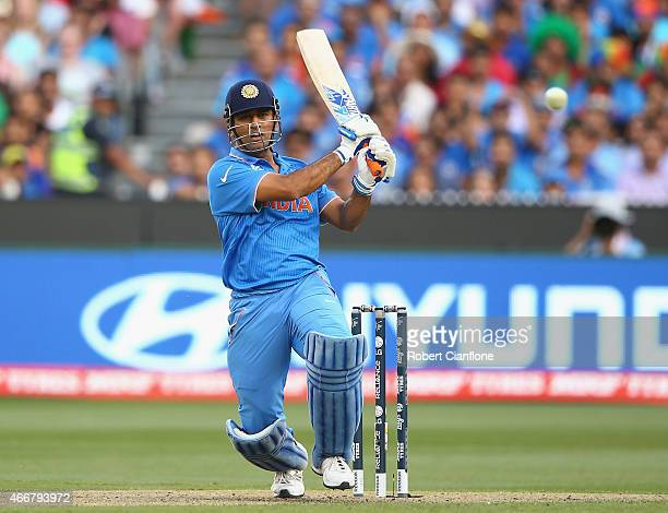 Dhoni of India bats during the 2015 ICC Cricket World Cup match between India and Bangldesh at Melbourne Cricket Ground on March 19, 2015 in...