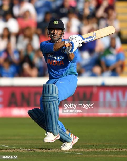 Dhoni of India bats during the 2nd Vitality International T20 match between England and India at SWALEC Stadium on July 6, 2018 in Cardiff, Wales.