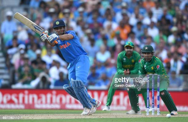 Dhoni of India bats during the ICC Champions Trophy Final between India and Pakistan at The Kia Oval on June 18 2017 in London England