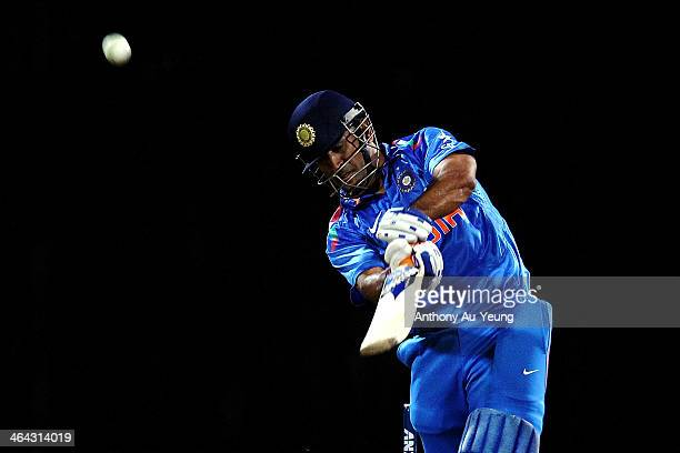 Dhoni of India bats during the One Day International match between New Zealand and India at Seddon Park on January 22 2014 in Hamilton New Zealand