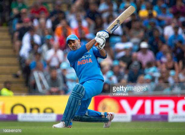 Dhoni of India batting during the 3rd Royal London ODI match between England and India at Headingley on July 17 2018 in Leeds England