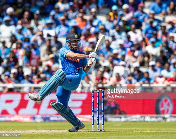 Dhoni of India batting during the Group Stage match of the ICC Cricket World Cup 2019 between West Indies and India at Old Trafford on June 27 2019...