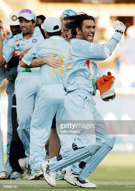 Dhoni of India celebrate their victory during the final match of the ICC Twenty20 World Cup between Pakistan and India held at the Wanderers Cricket...