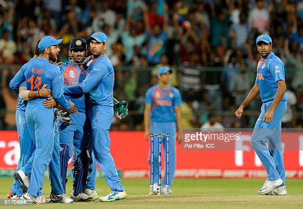 Dhoni of India celebrates the wicket of Sabbir Rahman of Bangladesh during the ICC World Twenty20 India 2016 match between India and Bangladesh at...