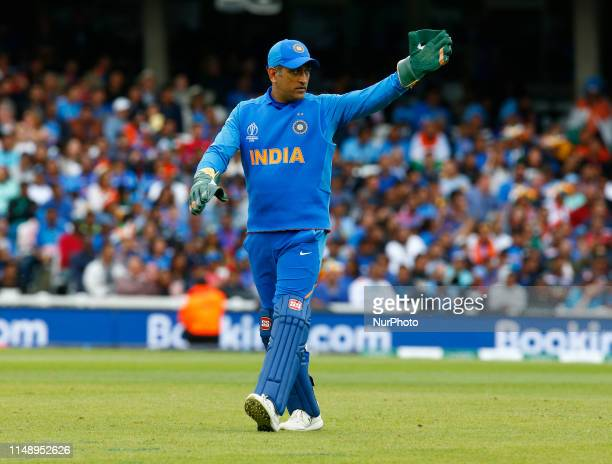 MS Dhoni of India during ICC Cricket World Cup between India and Australia at the Oval Stadium on 09 June 2019 in London England