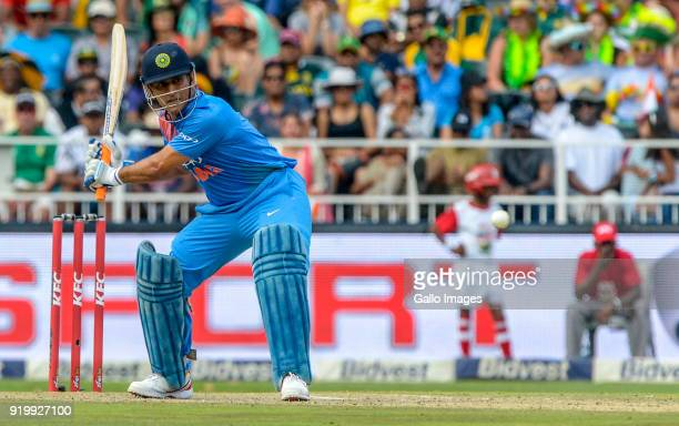 Dhoni of India during the 1st KFC T20 International match between South Africa and India at Bidvest Wanderers Stadium on February 18 2018 in...