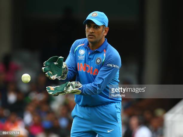 MS Dhoni of India during the ICC Champions Trophy match Group B between India and Sri Lanka at The Oval in London on June 08 2017