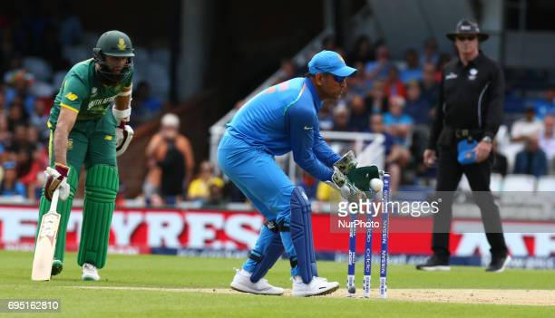 MS Dhoni of India during the ICC Champions Trophy match Group B between India and South Africa at The Oval in London on June 11 2017