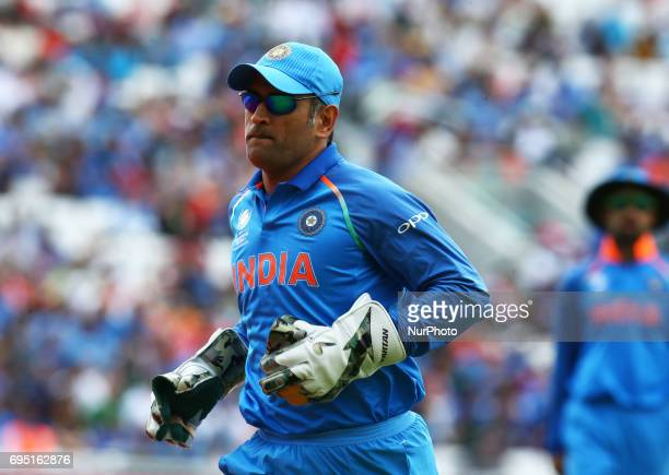 Dhoni of India during the ICC Champions Trophy match Group B between India and South Africa at The Oval in London on June 11, 2017