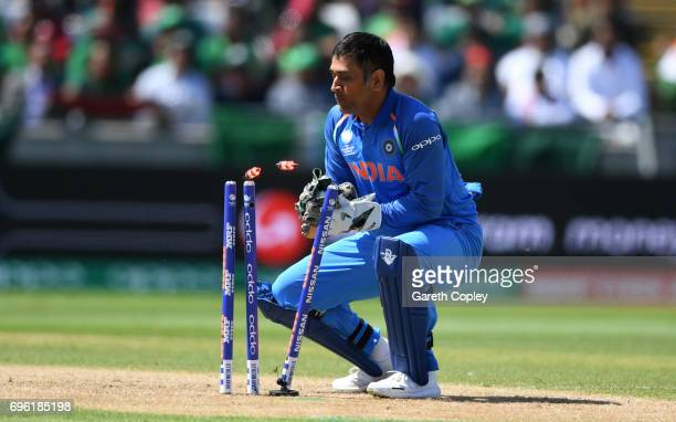 Dhoni of India during the ICC Champions Trophy Semi Final between Bangladesh and India at Edgbaston on June 15 2017 in Birmingham England