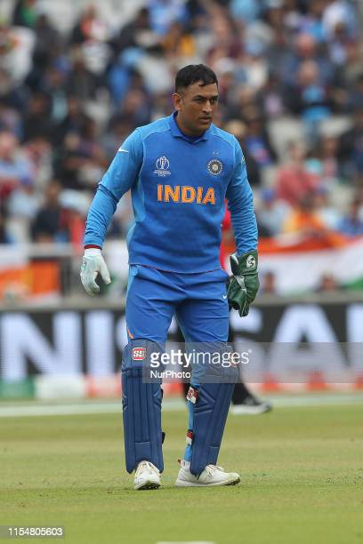MS Dhoni of India during the ICC Cricket World Cup 2019 match between India and New Zealand at Old Trafford Manchester on Tuesday 9th July 2019